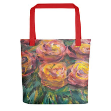 Tote Bags: Roses painterly strokes with reds, yellows & green tones of color plus a sturdy handle