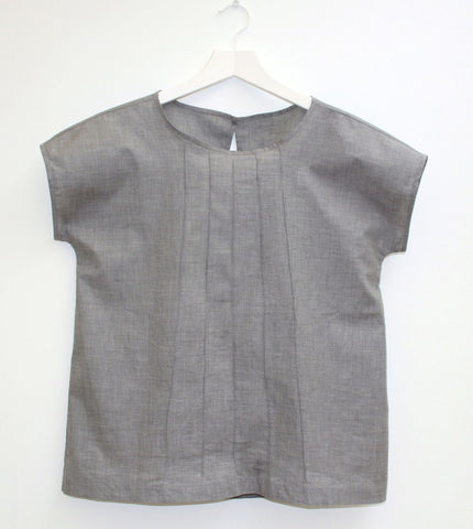 CK - flannel grey cotton top with pintuck details