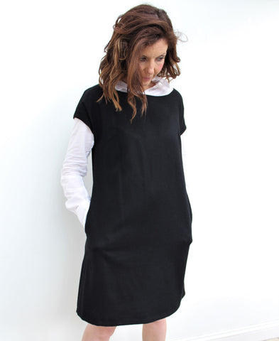 Eliza - a stylish wool tunic dress, with a slight A-line silhouette