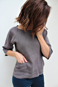 Alice - linen top with pintucks detail and pockets