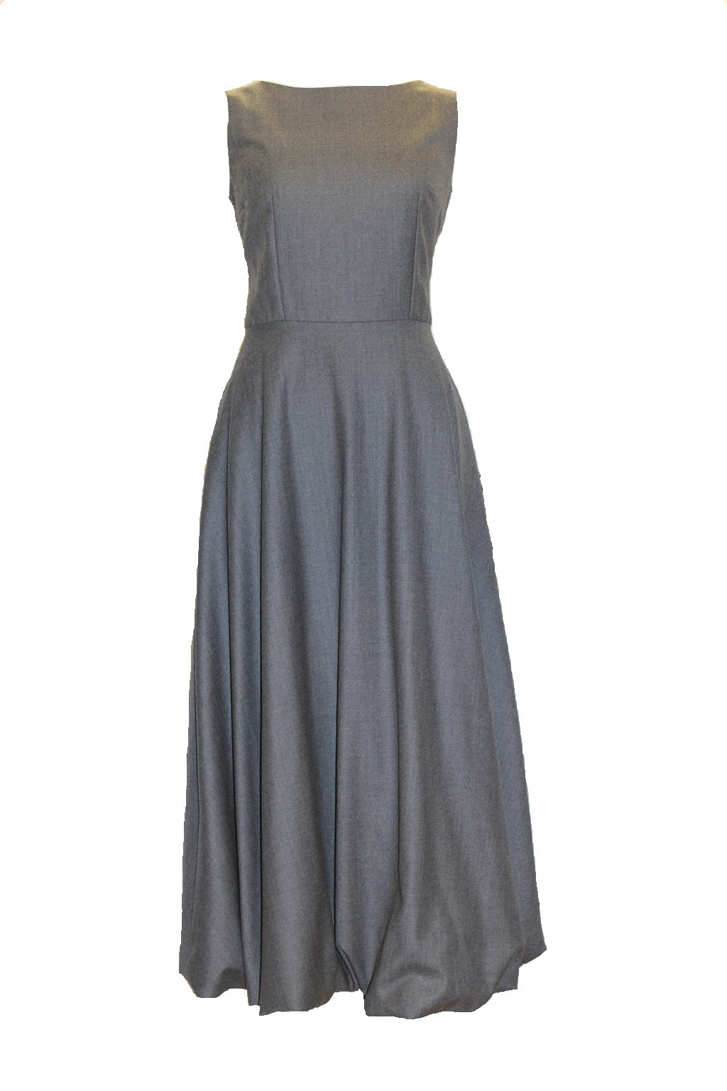Paris - Wool long dress with bubble hem