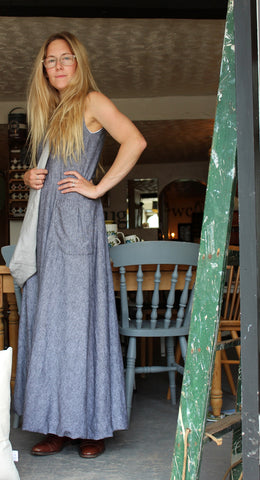 Cloud - long linen dress, with bubble hem