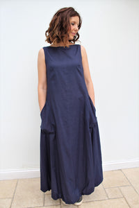 Cloud - long cotton dress, with bubble hem