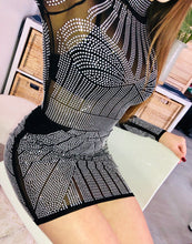 Load image into Gallery viewer, Black + Silver Gem Dress