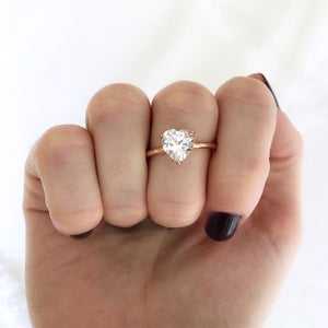 Heart Shaped White Sapphire Ring
