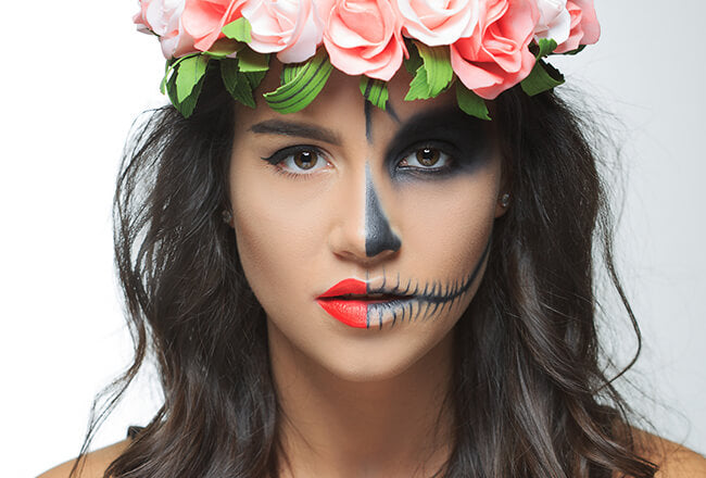 easy halloween makeup skeleton woman