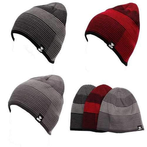 Men Outdoor Ski Moutaineering Stripe Climbing Cap Crochet Knitting Plush Inner Slouch Beanie Hat