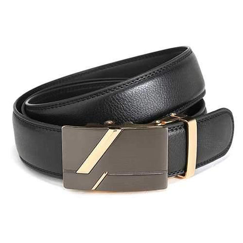 120CM Men Second Floor Cowhide Frosted Gold Silver Alloy Automatic Buckle Belt