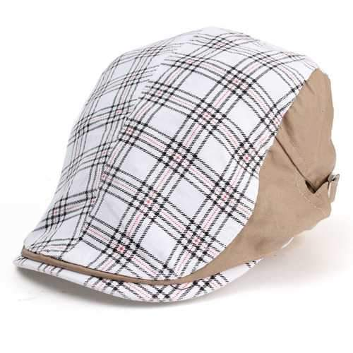 Men Male Cotton Blend Grid Newsboy Beret Hat Buckle Golf Flat Checked Buckle Cabbie Cap