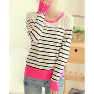 Casual Scoop Collar Striped Color Block Long Sleeve Women's Sweater - Stripe One Size