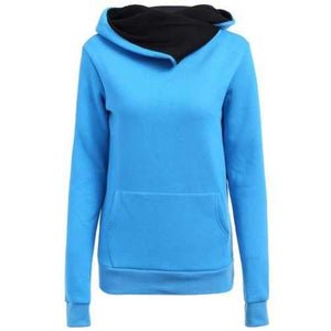 Casual Style Loose-Fitting Solid Color Long Sleeve Women's Hoodie - Blue S