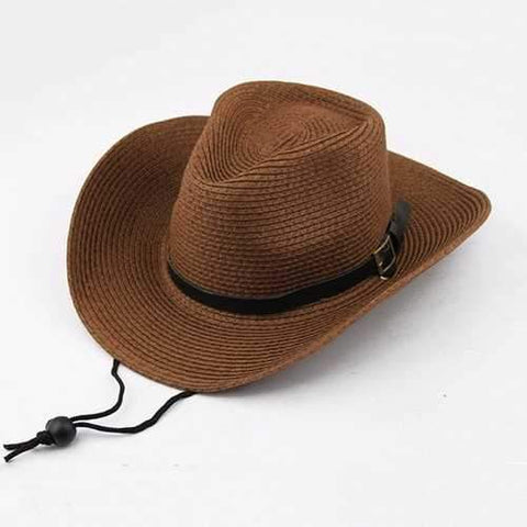 Unisex Straw Floppy Wide Brim Sun Hat Cowboy Cap Fedora Beach Belt Panama Hats With String
