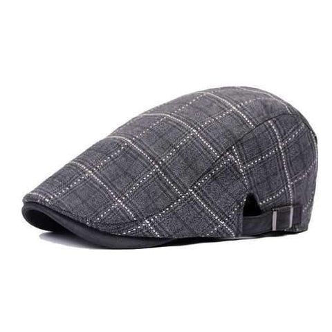 Unisex Cotton Grid Blank Newsboy Beret Hat Duckbill Golf Flat Buckle Cabbie Cap For Men Women
