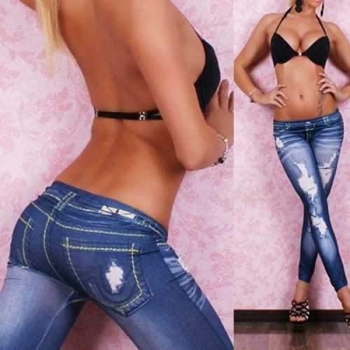Stylish Bleach Wash Hole Jean Legging For Women - Blue One Size(fit Size Xs To M)