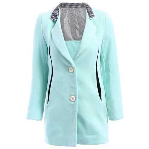 Trendy Style Lapel Neck Long Sleeve Houndstooth Splicing Worsted Women's Coat - Azure S