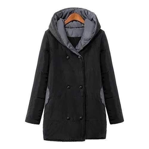 Stylish Hooded Long Sleeve Color Block Knit Splicing Women's Coat - Black S