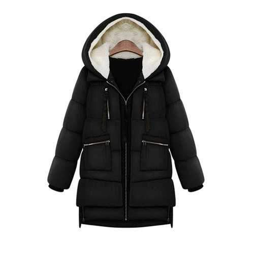 Casual Style Hooded Long Sleeve Solid Color Zipper Pockets Women's Coat - Black L