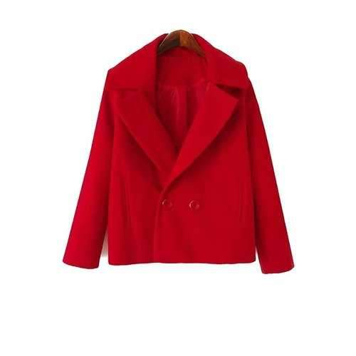 Simple Style Lapel Collar Long Sleeve Solid Color Worsted Women's Coat - Red S