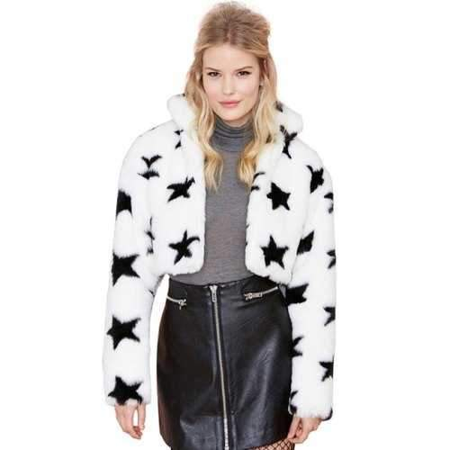 Trendy Style Long Sleeve Star Pattern Faux Fur Women's Jacket - White S