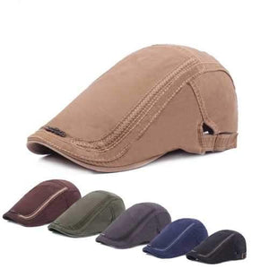 Men Women Cotton Washed Beret Hat Fashion Iron Label Buckle Adjustable Cabbie Golf Gentleman Caps