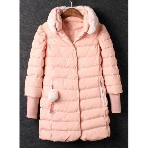 Ladylike Detachable Stand Collar Pink Long Sleeve Coat For Women - Pink L