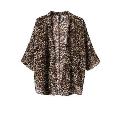 Casual Style Collarless Leopard Pattern 3/4 Sleeve Coat For Women - Leopard S