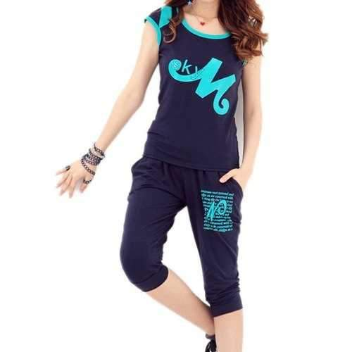 Active Scoop Neck Letter Print Short Sleeve T-Shirt and Lace-Up Pants Twinset For Women - Sapphire Blue L