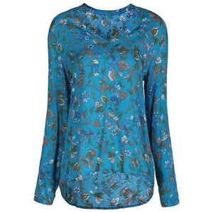 Stylish V-Neck Long Sleeve Floral Print Loose-Fitting Women's Blouse - Blue M
