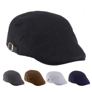 Unisex Men Women Cotton Blend Newsboy Beret Hat Duckbill Golf Flat Buckle Cabbie Cap