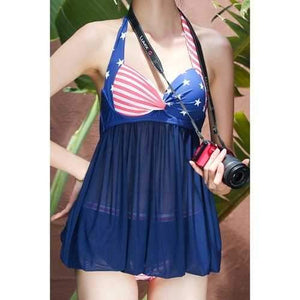 Stylish Halter Voile Spliced One-Piece Women's Swimwear - Purplish Blue M