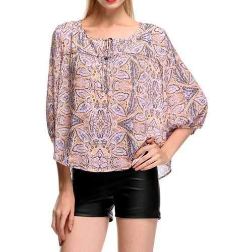 Fashionable Scoop Neck Print 3/4 Sleeve Shirt For Women - Light Purple S