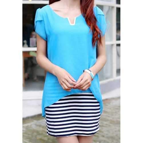 Casual Scoop Neck Stripe Spliced Short Sleeve Dress For Women - Azure S