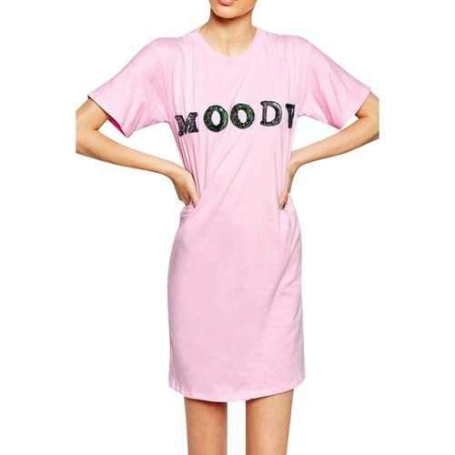 Casual Style Round Neck Short Sleeve Sequins Letter Pattern Women's Dress - Pink S