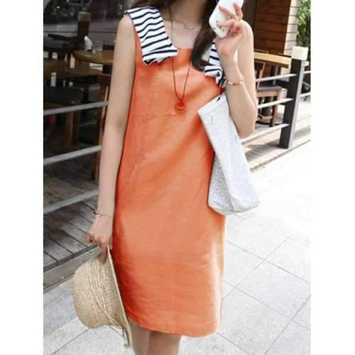 Casual Scoop Collar Sleeveless Solid Color Pocket Design Women's Dress - Jacinth M