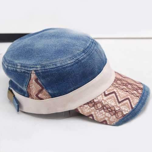 Men Women Washed Denim Military Army Cap
