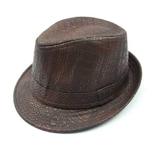 Mens PU Leather Crocodile Pattern Jazz Hat Fedora Hats
