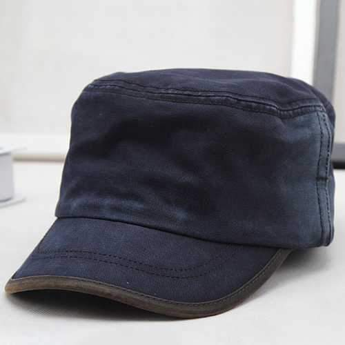 Men New Washed Cotton Flat Top Hats Adjustbale Military Cap