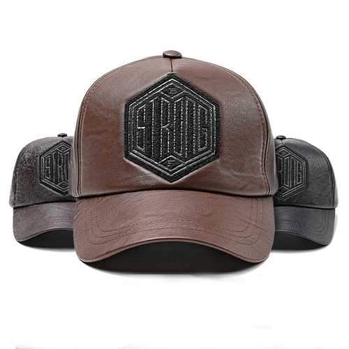 Men Women Winter PU Leather Baseball Cap Dad Hat