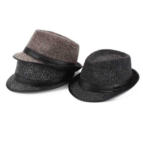 Middle-Aged Winter Cotton Panama Fedora Hats