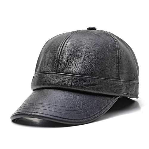 Men Women Winter Artificia Leather Letter Badge Baseball Cap