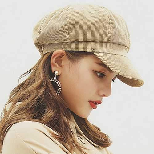 Womens Winter Corduroy Octagon Painter Beret Caps