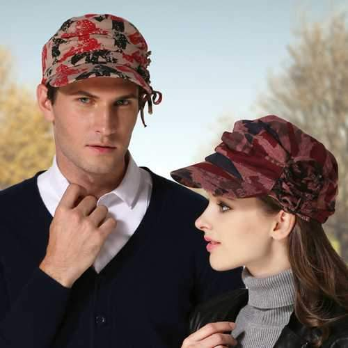 Womens Winter Cotton Printting Painter Beret Caps