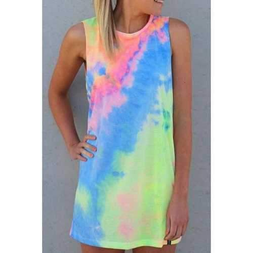 Sweet Style Round Neck Sleeveless Tie-Dyed Colorful Women's Mini Dress - S