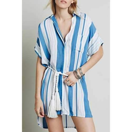 Stylish White Blue Batwing Sleeve Striped High Low Women's Dress - Blue And White S