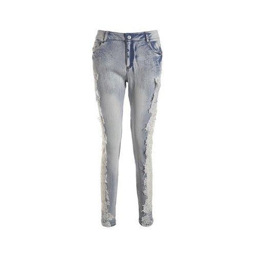 Lace Insert Skinny Cigarette Jeans - Light Blue L