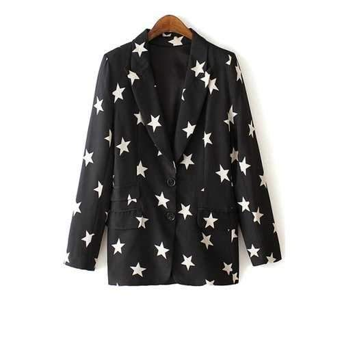 Fashionbale Lapel White Star Print Long Sleeve Blazer For Women - Black Xl