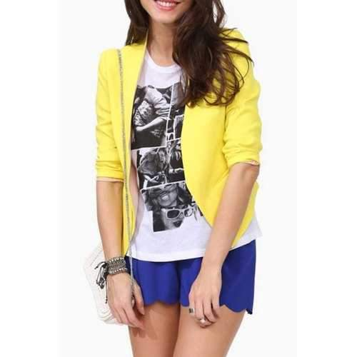 OL Style Open Front Long Sleeve Candy-Colored Irregular Hem Women's Blazer - Yellow L