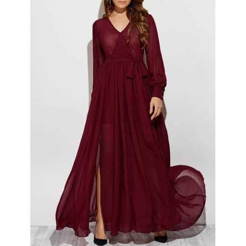 Stylish V Neck Long Sleeve See-Through Slit Women's Maxi Dress - Wine Red M
