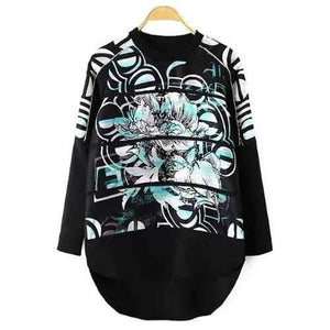 Stylish Round Neck Long Sleeve Abstract Print High Low Hem Women's Sweatshirt - Black S