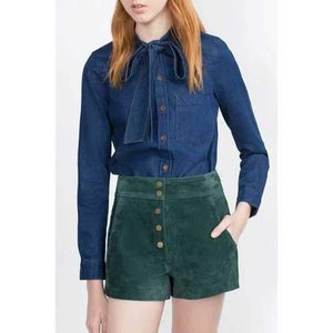 Stylish Bow Tie Collar Long Sleeve Single-Breasted Women's Denim Shirt - Blue S